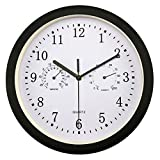 Foxtop Silent Wall Clock with Temperature & Humidity for Bathroom/Kitchen/Living Room/Garage