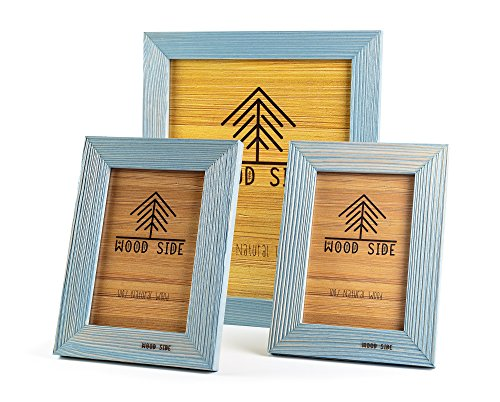 - Rustic Wooden Picture Frames Blue - Turquoise Set of 3 - One 8 x 10 and Two 4 x 6 Inch Picture Frames Made of Solid Wood High Definition Glass for Table Top Display and Wall Mounting Photo Frame
