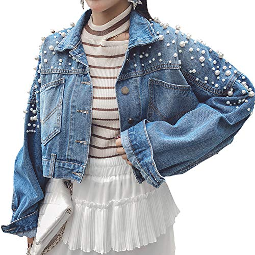D-Sun Women's Vintage Bead Pearl Ripped Loose Washed Denim Jacket Coats (Style 2, L)