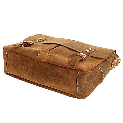 Paonies Herren Handtasche Aktentasche Büffelleder Tasche Schultertasche Messenger Bag