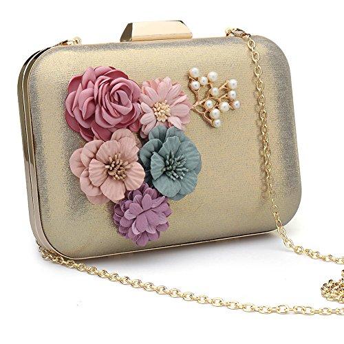 Women's Satin Flower Evening Clutch Pearl Beaded Evening (Satin Pearl Money Bag)
