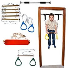 Indoor Swing by DreamGYM | Doorway Gym with Chin Up Bar, Trapeze Bar & Gym Rings Combo, Rope Ladder, Gymnastics Rings and Rope Swing | Great for Gymnastics