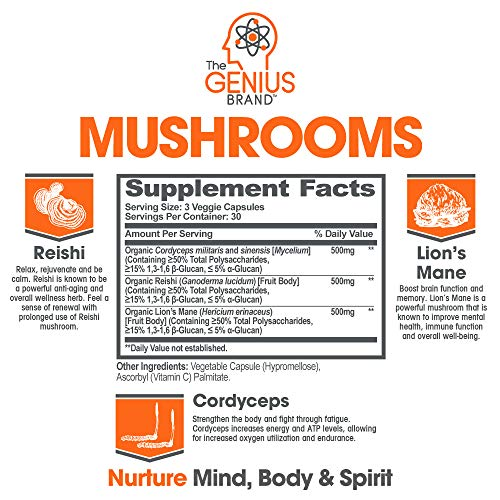 Genius Mushroom - Lions Mane, Cordyceps and Reishi - Immune System Booster & Nootropic Brain Supplement - Wellness Formula for Natural Energy, Stress Relief, Memory & Liver Support, 90 Veggie Pills