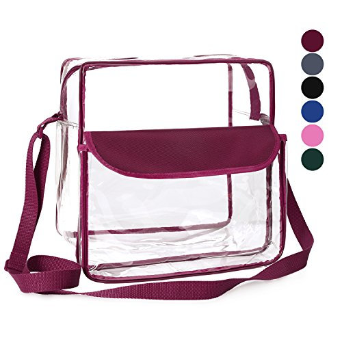 BAGAIL Clear Purse NFL &PGA Approved Cross-Body Shoulder Messenger Bag w Adjustable Strap (burgundy, (Nfl Bag)