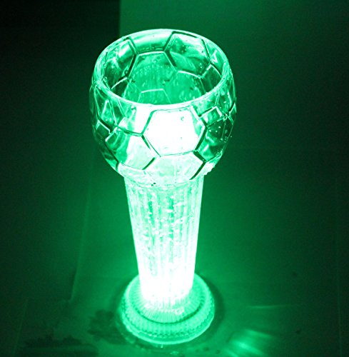 Glovion LED Flashing Glow in the Dark Beer Mug Light up Barware Drink Cup Football Shape