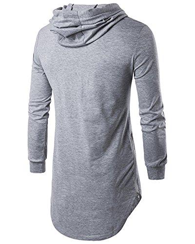 Jolime Longues Sweat Manches Tee Hipster Capuche À Homme Hop Gris shirt Top Shirt shirt Long T Hip U1wqUrz