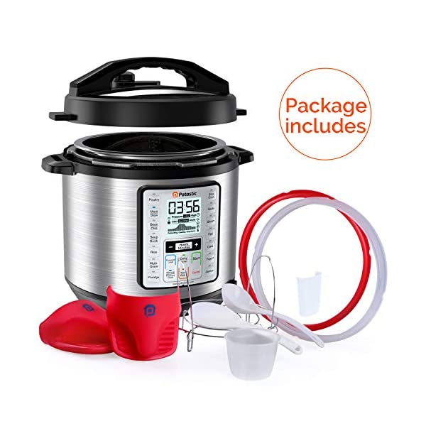Potastic EP6 10-in-1 Programmable Electric Pressure Cooker,6 Quart,LCD Display,Instant Cooking with Stainless Steel Pot… 5