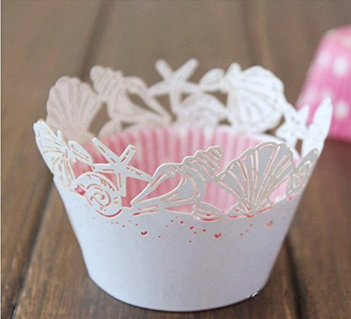 Krismile® 48 White Beach Themed Wedding Sea Shell Seashells Cupcake Wrapper Baby Shower Wedding Party Cake Liners Decoration / Pearl White Hawaiian Sea Shells Filigree Laser Cut Paper Cupcake Wrappers Wraps Baby Shower Wedding Party Beach Themed Dinner Party Bridal Shower Cake Liners Decoration -