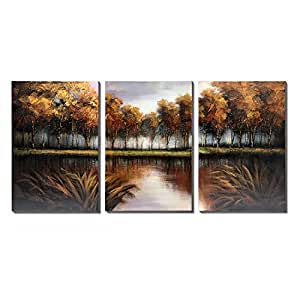 3Hdeko-Forest Oil Painting Trees on Walls Green 3 panel Fine Art For Living Room,Streched,Ready To Hang (20x30inch x3 pcs)