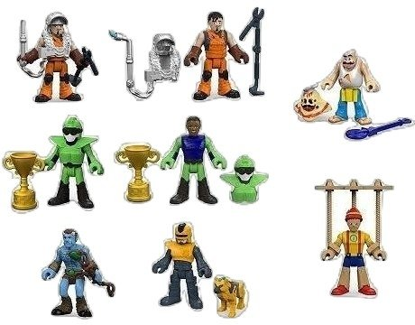 (Fisher-Price Imaginext Collectible Figure Blind Bag Mystery Series 8 Complete Set of 6 (Sealed in Packs) - Puppet Boy, Woodland Mystic, Welder, Moto Rider, Future Cop, and Pizza Chef)
