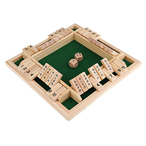 Baoblaze Shut the Box Game Wooden Board Number Drinking Dice Toy Family Game Xmas Toy by Baoblaze