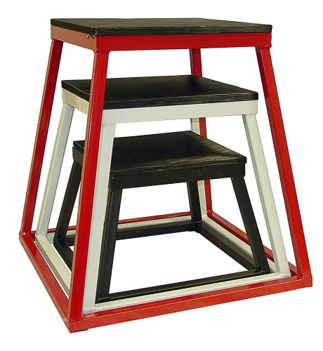 Ader Plyometric Platform Box Set- 12'' Black, 18'' White, 24'' Red. by Ader Sporting Goods