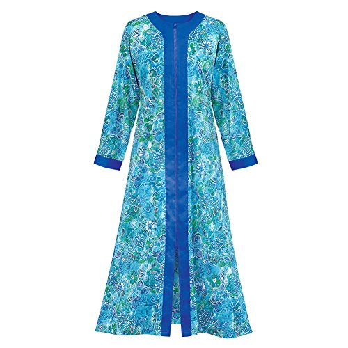 Long Sleeve Caftan - Women's Zip Front Floral Long Robe with Long Sleeves - Comfortable Loungewear with Side Pockets and Split Neckline, Royal Blue, X-Large