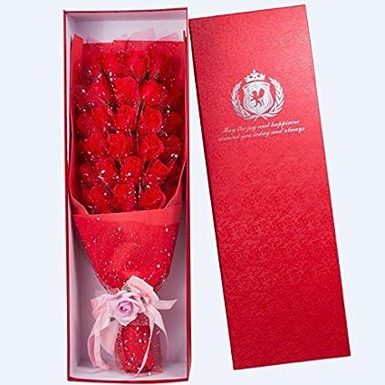JIALE3536 Flor de jabón rosa Rosas de caja de regaloRosas, jabón, flores, cajas