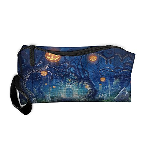 Halloween Scary Night In The Cemetery Portable Storage Pouch Travel Makeup Bag Oxford Cloth Kit Organizer For Sewing Medicine Comestic Fashion Pencil Pen (Zip Makeup Halloween)