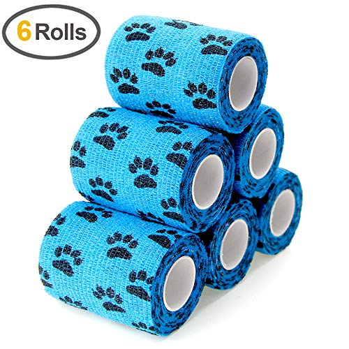 (MUEUSS Self Adhesive Bandage First Aid Tape Strong Elastic Blue Claw Wraps for Pets Animals & Ankle Sprains & Medical Support, 3 Inches x 5 Yards, 6 Rolls)
