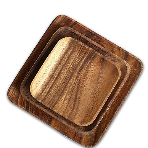 2 Pcs Acacia Wooden Square Dinner Plates-10 Inch Appetizer Salad Plate & 8 Inch Dessert Serving Platter Tray