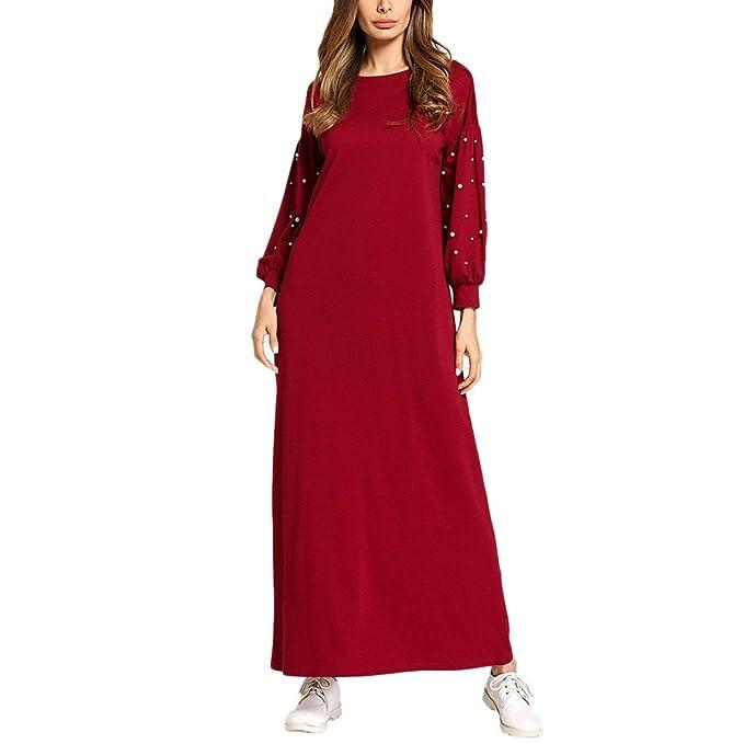 TAAMBAB Mujeres Largo Maxi Vestidos Musulmanes Batas - Cuello Redondo con Cuentas Nacional Estilo Vino Rojo para Elegante: Amazon.es: Ropa y accesorios