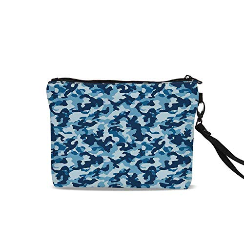Camouflage Cosmetic Bag Storage Bag,Military Infantry Marine Troops Costume Pattern Vibrant Color Palette Surreal Decorative For Women Girl,9
