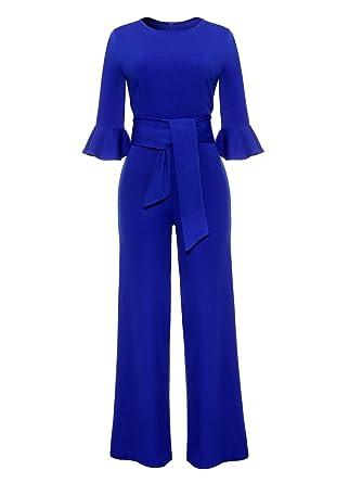 8555f1a3cd76 Amazon.com  Corala Women Solid Long Sleeve Wide Leg Long Jumpsuits Romper  Pants with Belt