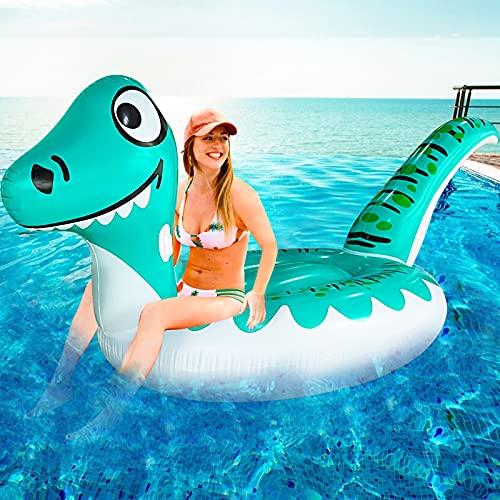 TURNMEON 거대 공룡 팽창식 수영장 FLOAT 자 장난감을 타고 온 가진 튼튼한 핸들이 여름 해변은 수영장 파티 게임 수영장 장난감 관 뗏목 LOUNGE 성인 어린이 장난감 공룡 섬(125X47X49)