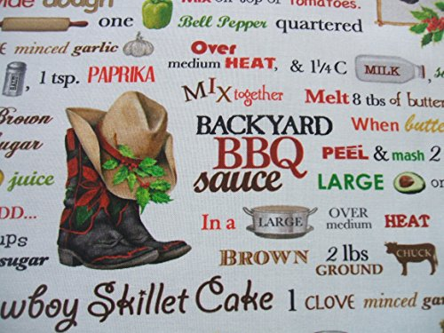 Holly Jolly Christmas 6 Western Recipe Cowboy Boots Hat Horse Cotton Fabric Yard Theme Cotton Fabric