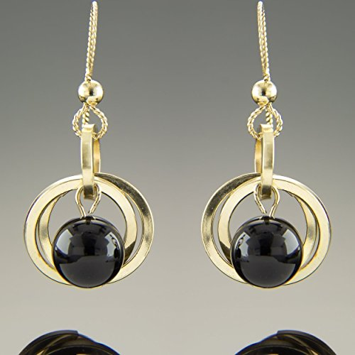Dainty 14K Gold Fill Black Onyx Gemstone Dangle Earrings