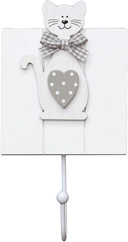 Conjunto de 3 ganchos de perchero pared madera colgador solo gancho con dise/ño de perro para pared o puerta en 1 x blanco y 2 x gris dise/ño de perros lindo de para decoraci/ón de casa hogar de perros y animals Set 3 Dog Design Coat Hook