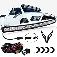 312W 54Inch Curved LED Light Bar Spot Flood Combo Driving Offroad Lamps & Upper Roof Windshield Mount Brackets & 1 Lead Wiring Harness & Remote Control Kits For 2002-2008 Dodge Ram 1500