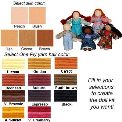 Customizable 16'' Waldorf Doll Kit with One Ply Yarn Hair