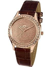 Jacques Lemans Women's Black Leather Band Steel Case Quartz Watch 1-1841ZJ