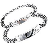 Flongo Men's Womens 2PCS Real Love Stainless Steel Couples Matching Heart Link Wrist Valentine Love Engagement Promise Gift Bracelet