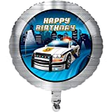 Club Pack of 10 Gray and Dark Blue Police Car Theme Metallic Balloon 8""
