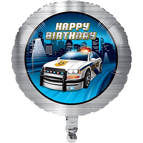"""Club Pack of 10 Gray and Dark Blue Police Car Theme Metallic Balloon 8"""" by Party Central"""