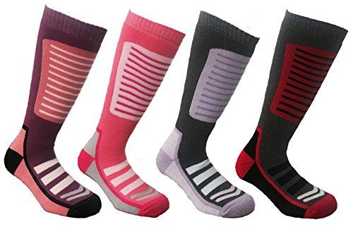 1 Pair HIGH PERFORMANCE Ladies Long Hose Thermal Ski Socks Dark Pink UK 4-7