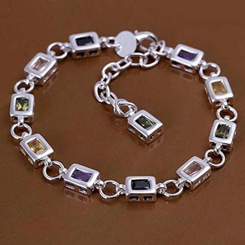 AmDxD Jewerly Gold Plated Men Women Link Bracelet Silver Rectangle CZ 17.5CM with 5CM Extension Chain