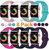 Fuleda Compatible with Apple Watch Band 44mm 42mm, 8 Pack, M/L