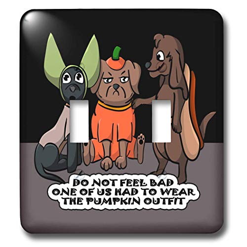3dRose Sandy Mertens Halloween Designs - Dog Costume Cartoon, Funny Quote with Pumpkin Outfit, 3drsmm - Light Switch Covers - double toggle switch (lsp_290229_2) -