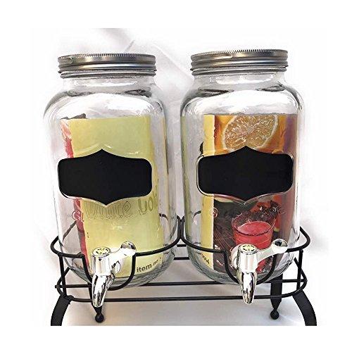 Twins Mason Jar With Chalk It Up, Rack, Glassware,Beverage Dispenser,3L each, in Multicolor Glass (Chalk It Up Mason Jars)