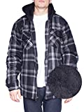 Hoodie Flannel Fleece Jacket For Men Zip Up Big & Tall Lined Sherpa Sweatshirts (3XL-Tall, Black/Grey)
