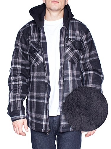 Plaid Hooded Flannel Jacket (Hoodie Flannel Fleece Jacket For Men Zip Up Big & Tall Lined Sherpa Sweatshirts (3XL-Tall, Black/Grey))