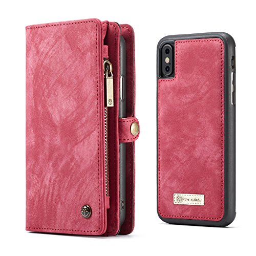 iPhone X/iPhone Xs Case Wallet,KONKY Caseme Wallet Case, Magnetic Detachable Removable Phone Cover Pouch Folio Durable Leather Purse Flip Card Pockets Holder Bag with Smooth Zipper - Red