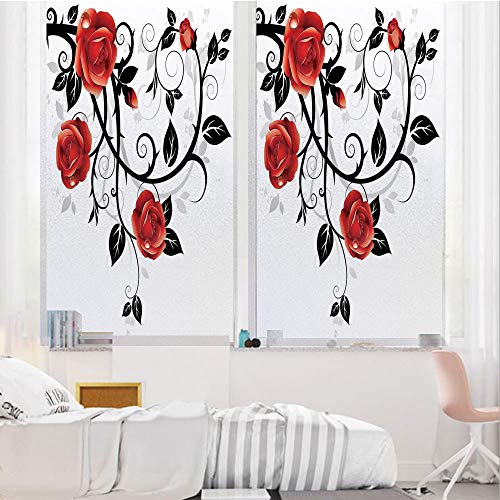 European Trellis - Gothic Decor 3D No Glue Static Decorative Privacy Window Films, Ornate Swirling Branches with Roses Garden Floral Gothic Grunge Style European Artwork,17.7
