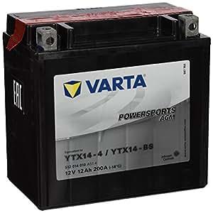Varta 549655 Powersports AGM Batería de Motocicleta, 12V, 12 Ah, YTX14-BS
