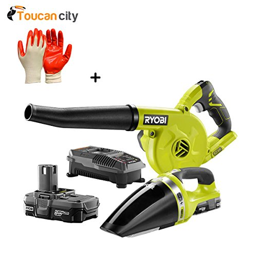 Ryobi 18-Volt ONE+ Lithium-Ion Cordless Sweeper and Vacuum (2-Tool) Combo Kit with (1) 1.3 Ah Battery and Charger P1907N and Toucan City Nitrile Dip Gloves(5-Pack)
