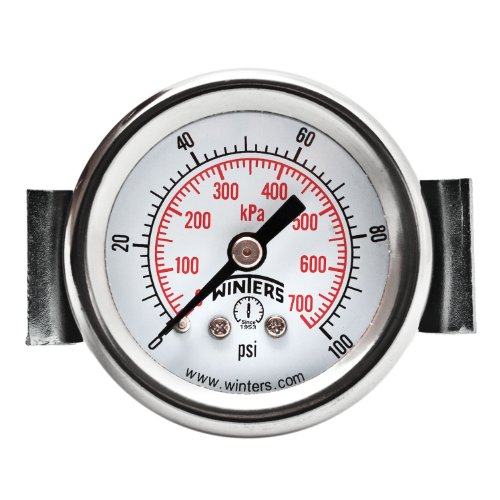(Winters PEU Series Steel Dual Scale Economy Panel Mounted Pressure Gauge, 0-100 psi/kpa, 1-1/2