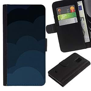 EJOY---Tirón de la caja Cartera de cuero con ranuras para tarjetas / Samsung Galaxy S5 Mini, SM-G800 / --Nubes Patrón