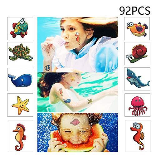 Ocean Temporary Tattoos for Kids-Shark, Dolphin,Under The Sea Birthday Party Favor Supplies Decor(92pcs) -