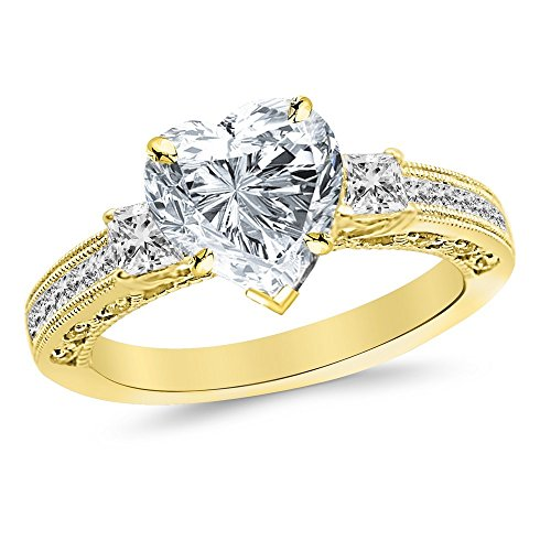 0.49 Ct Princess Shape - 1 Carat 14K Yellow Gold Three 3 Stone Princess Cut Channel Set Heart Shape GIA Certified Diamond Engagement Ring (0.49 Ct F Color SI1 Clarity Center Stone)