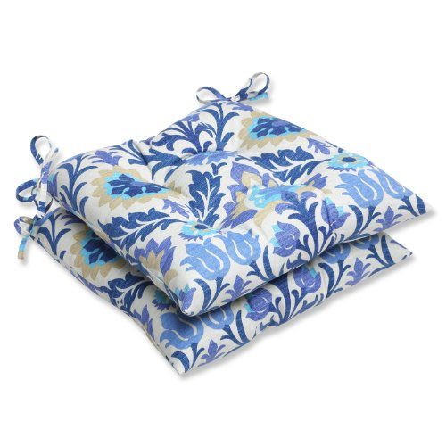 Pillow Perfect Outdoor Santa Maria Wrought Iron Seat Cushion, Azure, Set of 2